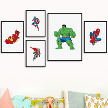 Detective Comics Hulk Spider-Man Iron Man Thor Wall Art Canvas Painting Posters and Prints Pictures Baby Kids Room Decor