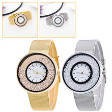 top brand luxury Women Stainless Steel Rose Gold Silver Wrist Watch Luxury Ladies Rhinestone Quartz Relogio Feminino New