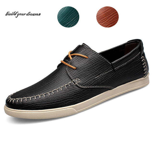 100% genuine leather men flat shoes brand casual driving shoes Lace up men loafers new fashion men shoes
