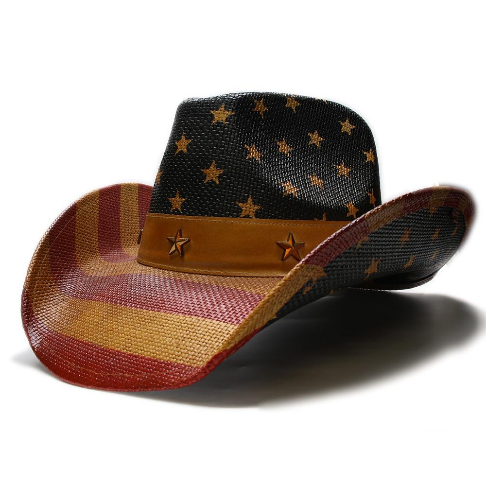 d5fbe532 Women's Men's Unisex's Retro Hard Paint Straw Wide Brim Stripe Sun Beach Cowboy  Cowgirl Western Hat