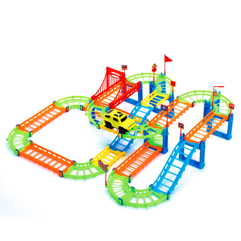 74PCS 3D Two-layer Spiral Track Roller Coaster Toy Electric Rail Car for Child Kids Gift BM88