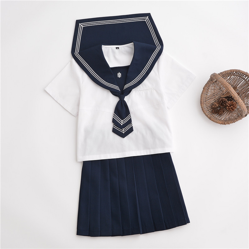 Hot Japanese School Girl Uniforms Short Sleeve Shirt Pleated Skirt Tie Sets Korean School Uniform Cosplay Student Jk Sailor Suit