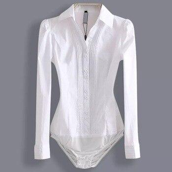 Elegant Bodysuits Women Office Lady White Body Shirt Long Sleeved Blouse Turn Down Collar Tops Female Clothing 2019 1