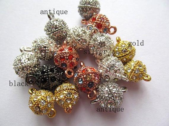 En gros ton Rhinetone cristal magique fermoir connecteurs fermoirs magnétiques boule ronde gunmetal argent rose or bijoux fermoir 50 pcs - 4