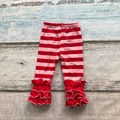 Valentine's day Fall/winter baby girls full length pink red striped print clothing icing pants cotton kids wear ruffles pants