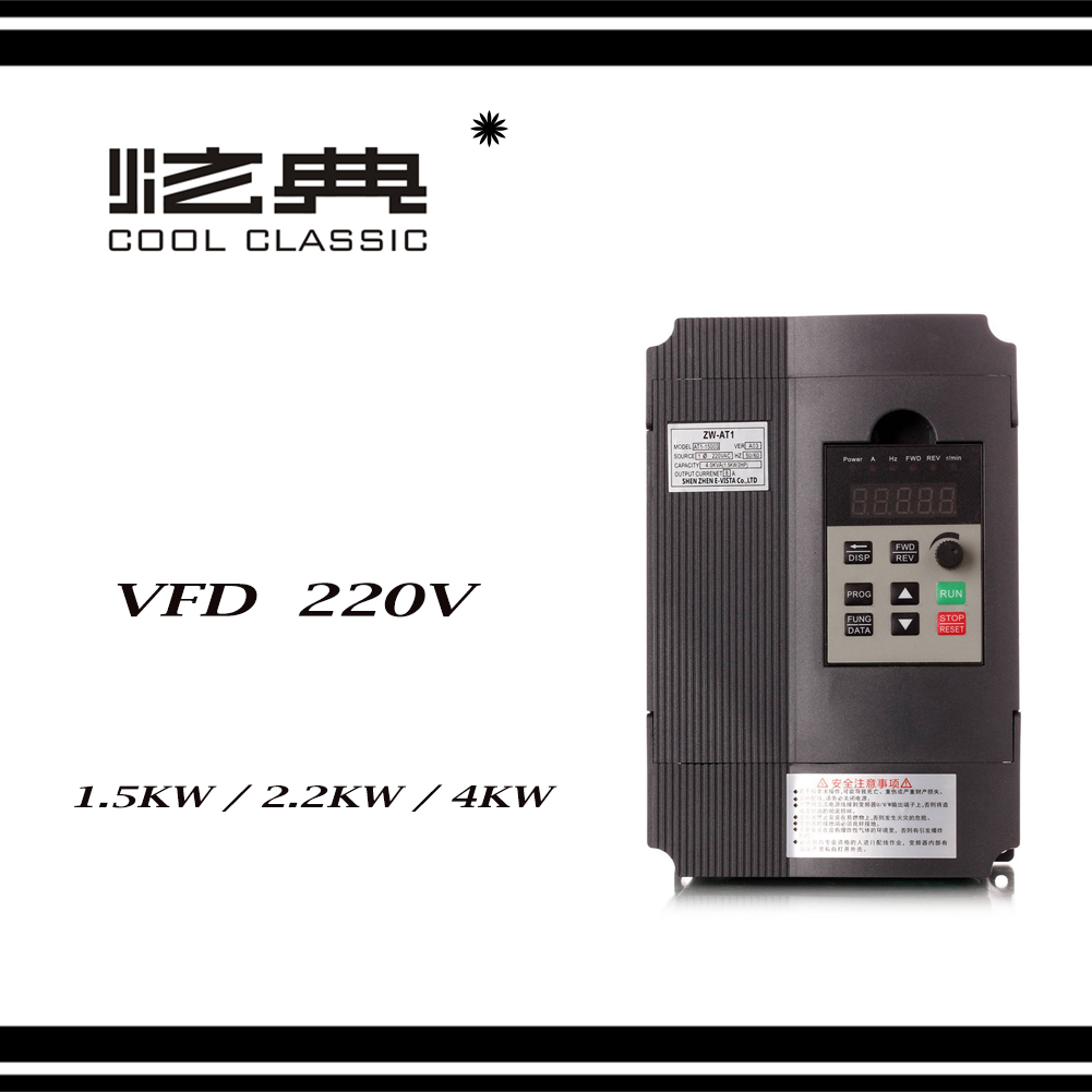 VFD Inverter 1 5KW 2 2KW 4KW Frequency Converter ZW AT1 3P 220V Output CNC Spindle