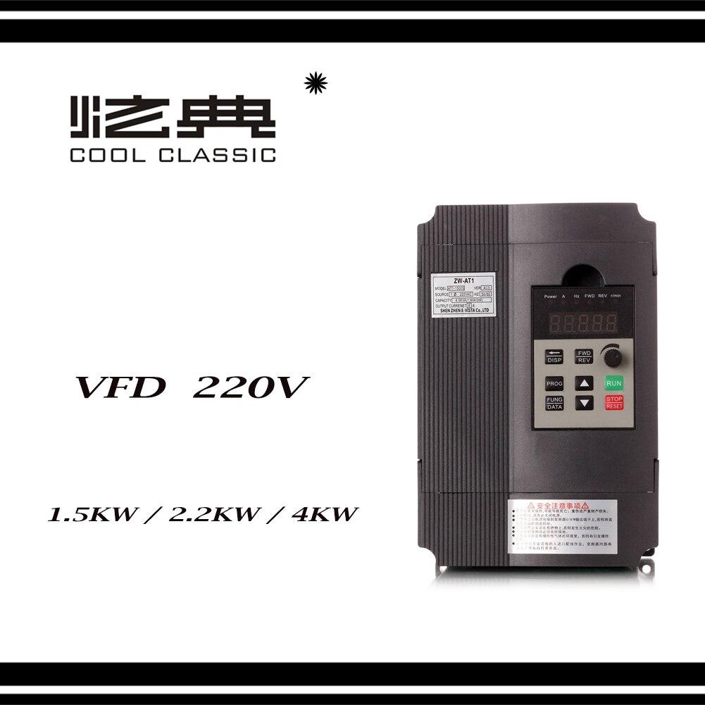 VFD Onduleur 1.5KW/2.2KW/4KW convertisseur de fréquence ZW-AT1 3 P 220 V Sortie CNC Broche Contrôle la vitesse du moteur VFD convertisseur