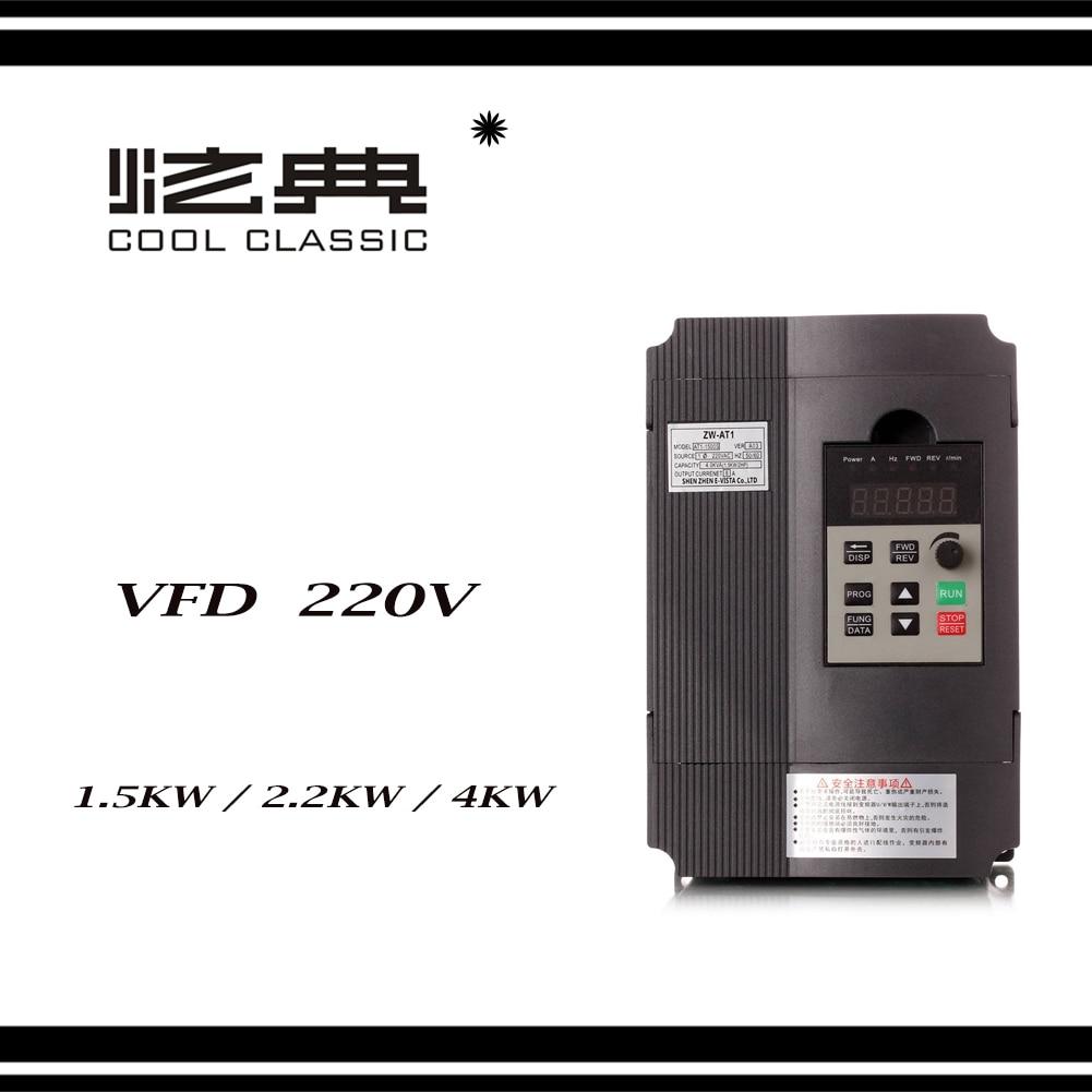 VFD Inverter 1.5KW/2.2KW/4KW  Frequency Converter ZW-AT1 3P 220V Output  CNC Spindle motor speed Control VFD ConverterVFD Inverter 1.5KW/2.2KW/4KW  Frequency Converter ZW-AT1 3P 220V Output  CNC Spindle motor speed Control VFD Converter