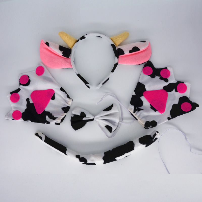 Boy Man Animal Headband Milk Cattle Cow Cosplay Costume Head Wear Tail Tie Paw Party Favors Performance Stage Show