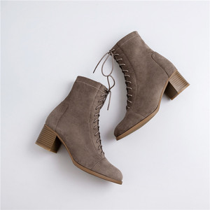 Image 5 - حذاء من الجلد للنساء 22 25 سنتيمتر طول الخريف والشتاء أحذية النساء جولة تو مرونة القماش المخملية منتصف كعب الجوارب الإناث + الأحذية