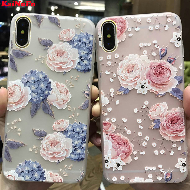 KaiNuEn luxury 3d flower tpu phone back copy,etui,capinha,coque,case,cover for iphone X for apple iphoneX silicone silicon i