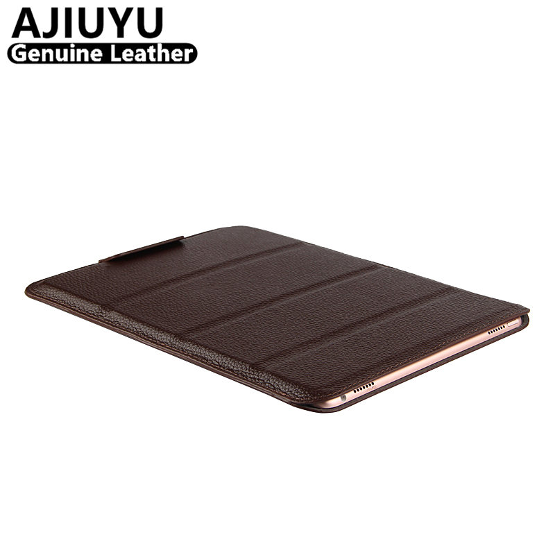 AJIUYU Genuine Leather For iPad Pro 10.5 inch Case Smart Cover For Apple iPadPro10.5 Cowhide Tablet Protector Protective Sleeve case cowhide for ipad air 2 genuine protective smart cover leather tablet for apple ipad air2 9 7 inch protector sleeve 6 covers