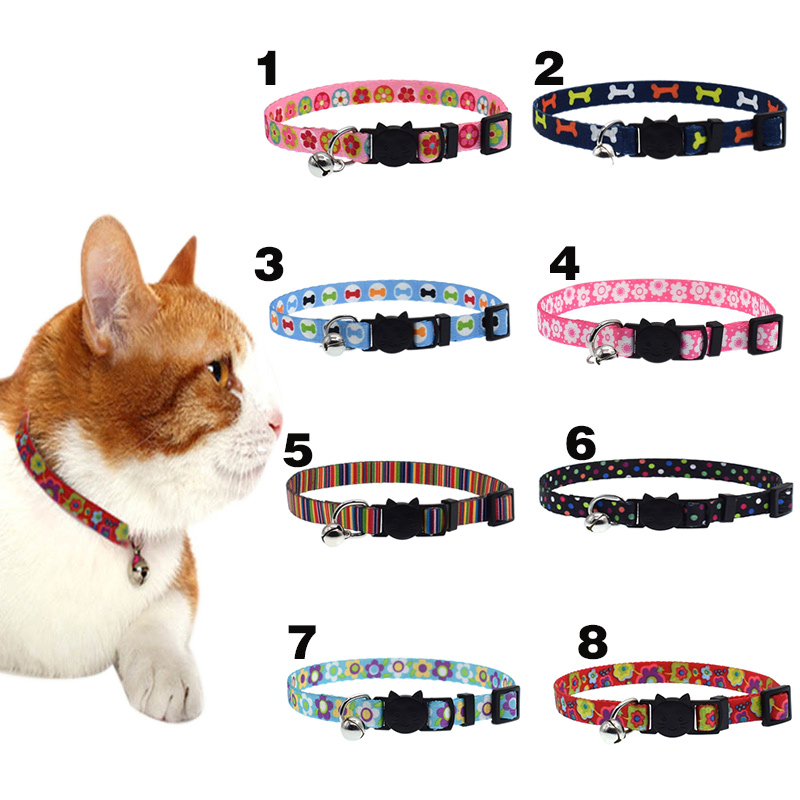 Newly Cat Collar With Bell Safety Buckle Adjustable Kitten Small Dogs Cats Printing Collars Pet Supplies 8