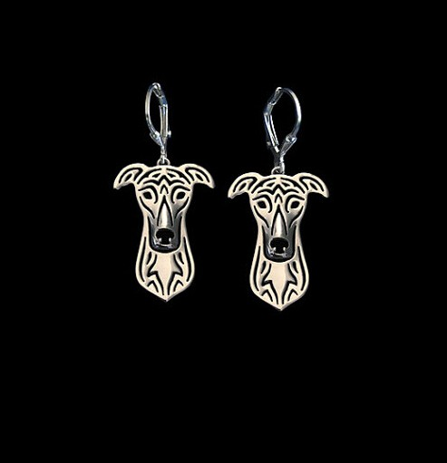 1PCS Handmade Cartoon Alloy greyhound Stud Earring jewelry Silver/gold color plated mini dog Earing