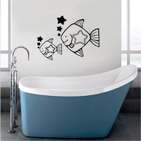 Cute Cartoon Sea World Fish Vinyl Wall Sticker Window Bathroom Decoration Wall Decal For Nursery Kids Rooms Home Decor WA0003