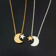 Islam Muslim Jewelry Gold Color Delicate Couple Moon Star Pendant Necklaces for Women Crescent Moon Statement Party Wedding Gift