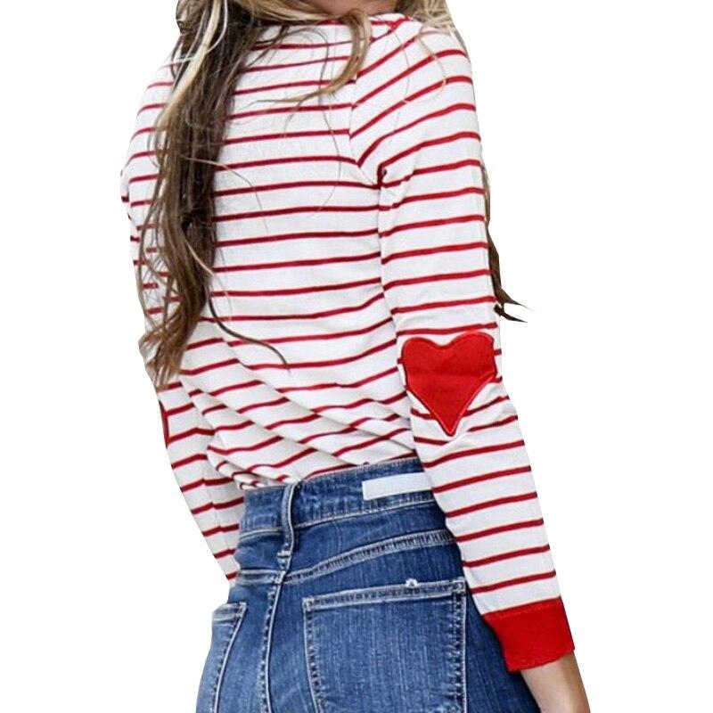 2018 футболка Для женщин Повседневное Футболка женская Для женщин пуловер Ropa с длинным рукавом Черный и белый в полоску сердце splic футболка