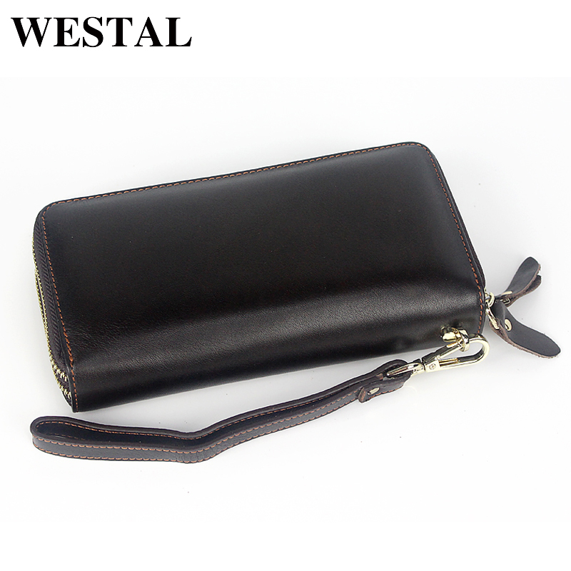 WESTAL Double Zippers Genuine Leather Men Wallets Man Wallet Leather Coin Purse Men Wallet Credit Card