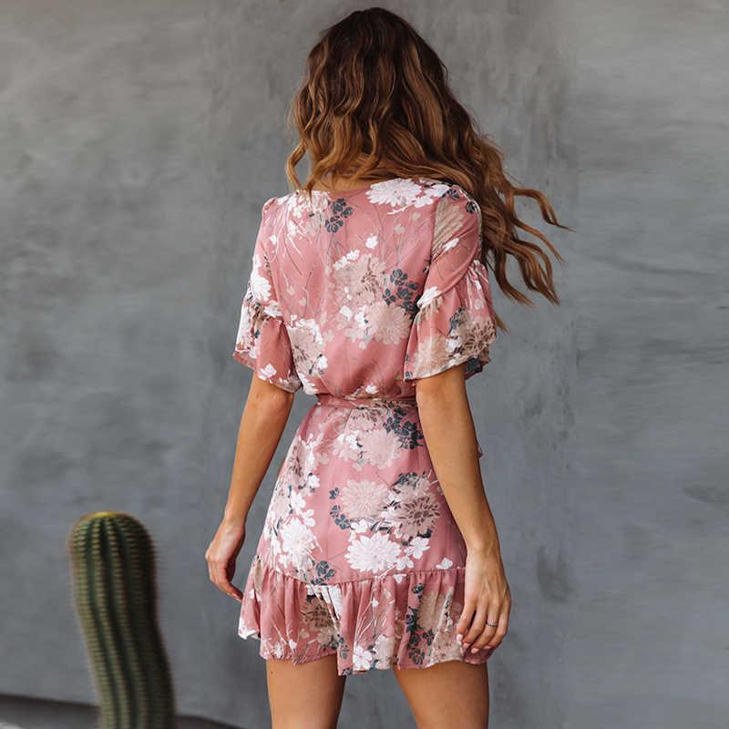 2019 Người Phụ Nữ Váy Đầm Hoa Mùa Hè Xù Bãi Biển Váy Đầm Cổ Tròn Tay Ngắn Nữ Mini Đầm Nữ Sundresses