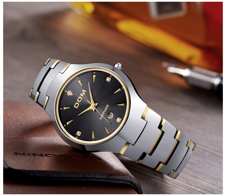 Hk dom luksusowe top marka męska zegarek wolframu stal wrist watch wodoodporna biznesu kwarcowy zegarek fashion casual sport watch 5
