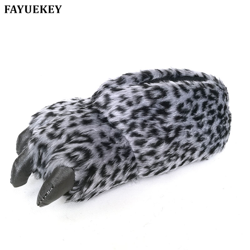 FAYUEKEY Winter Home Warm Paw Plush Leopard Slippers Thermal Cotton Soft Funny Animal Christmas Claw Slippers Indoor\Floor Shoes tolaitoe autumn winter animals fox household slippers soft soles floor with indoor slippers plush home slippers