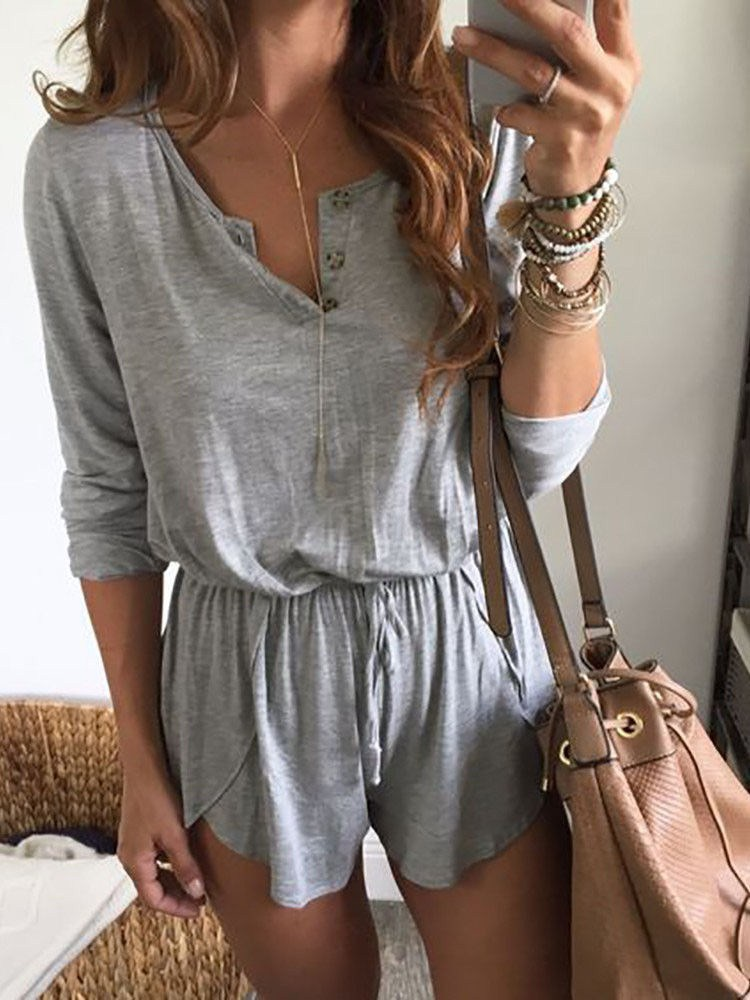 New Fashion Women V-neck Long Sleeve Buttons Playsuit Ladies High Waist Lace-up Summer Holiday Beach Sundress Jumpsuit Trousers