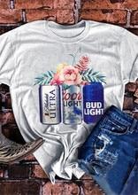 Gray T-shirt Women Top 2019 New Summer Tops Tee Beer Glass Printed tshirt O-Neck camisetas verano mujer tee shirt femme