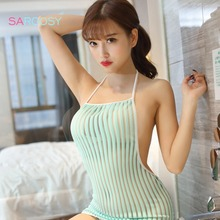 2017 New Cute Light Green Sheer Striped Erotic Sexy Lingerie for Women Hot Babydoll Japanese Lolita Sexy Mini Dress Sleepwear