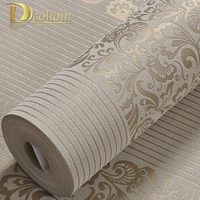 10M Home Improvement Wall Paper Modern Fashion Non Woven Flocking Wallpaper Rolls For Bedroom Background Wall