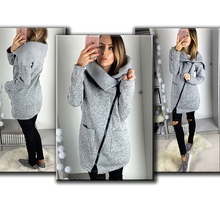 OHRYIYIE Plus Size 5XL Gray Cardigan Women 2017 Spring Autumn Zipper Sweater Women Long Sleeve Pocket Tricot Knitted Cardigan