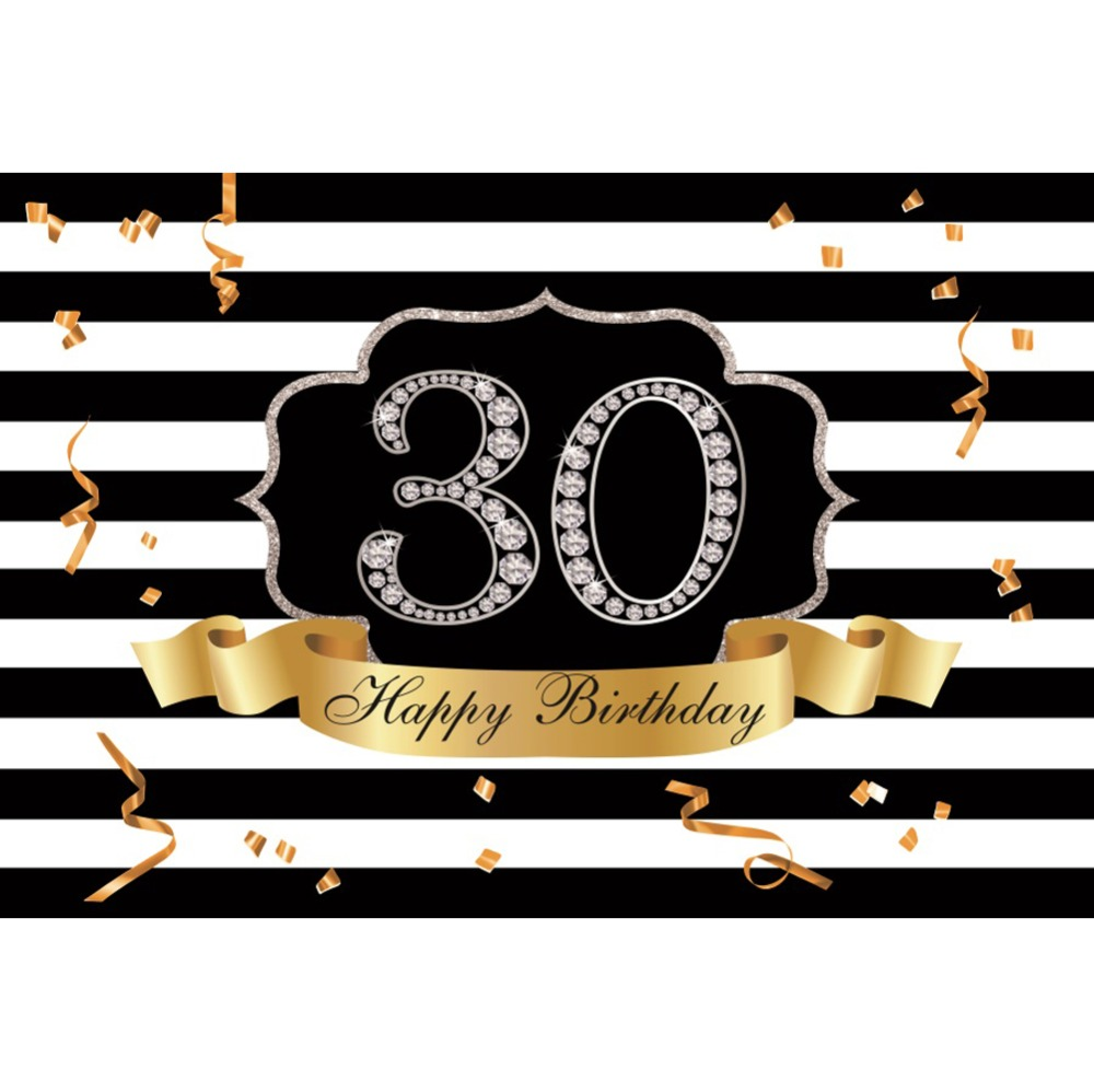Laeacco Happy 30th Birthday Party Diamond Ribbon Black White Stripes Banner Photo Backgrounds Photography Backdrops Photo Studio in Background from Consumer Electronics