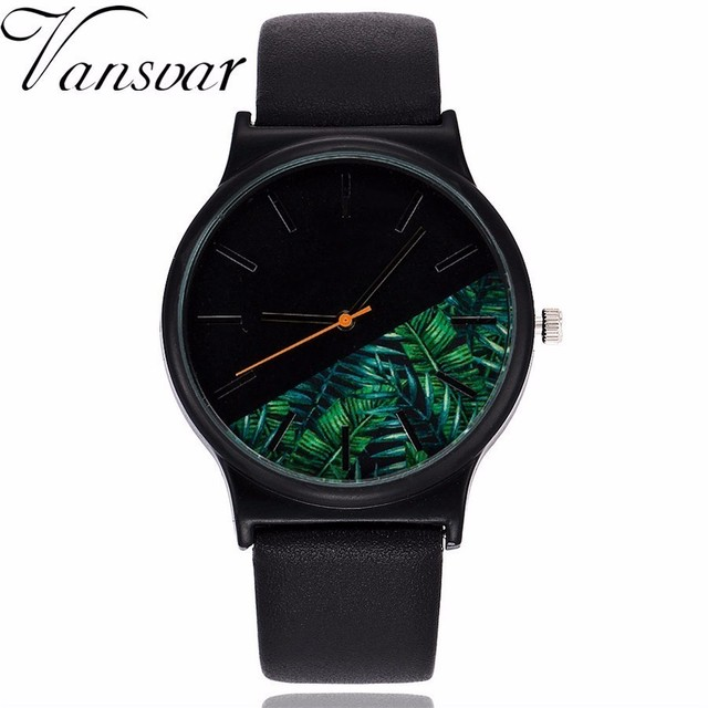 Vansvar Brand Women Floral & Palm Leaves Pattern Watch Luxury Casual Leather Lad