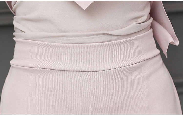 Conjuntos de dos piezas de verano de M-5xl, Tops y pantalones de media manga de talla grande para mujer, conjuntos de oficina elegantes de color rosa y negro para mujer 2019