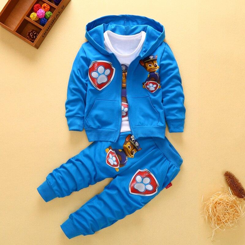 2017 Nuovi Bambini Bambini Ragazzi Set di Abbigliamento Autunno Inverno Set Cappotto con cappuccio Vestiti di Autunno Del Bambino Del Cotone Ragazzi Coat + Pant 3 Pz Vestiti set