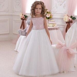 Kwiat dziewczyna sukienka różowy biały Tutu sukienka BabyTutu FlowerGirl sukienki na wesele pierwsza komunia okazje suknia sukienki dla dzieci 2016