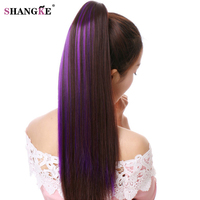 SHANGKE 24 Synthetic Long Straight Claw Ponytail Hair Extension Heat Resistant Fiber Hair Pieces Straight Style
