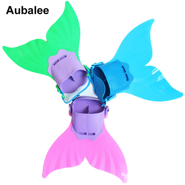 2018 Kids Girls Summer Swimming Mermaid Tail Monofin Flippers Real  Swimmable Mermaid Tail Fin Costumes Props For Children 25f0daf56cbc