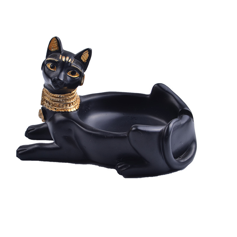 ElimElim Resin Cat Home Decor Animal Figures Home Decoration Ashtray Ornament Gift Retro Figurines & Miniatures