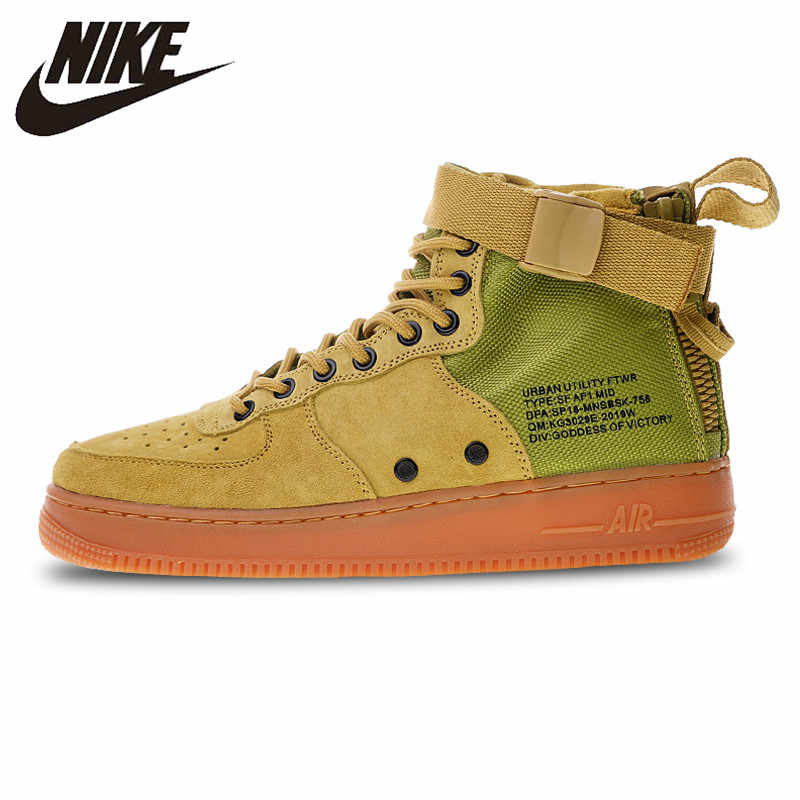 huge discount 956cd cd0e6 Nike SF Air Force 1 Utilitaire Mid Sneakers Sport chaussures pour  skateboard Jaune pour Hommes 917753