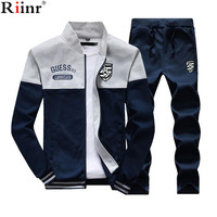 Riinr 2018 Fashion New Arrival Sporting Suit Men Spring And Autumn Casual Sweatshirt Sweatpants Two Pieces
