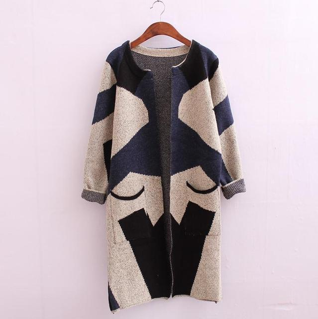 2015 winter women Camouflage Knitted sweaters long cardigan pull ...