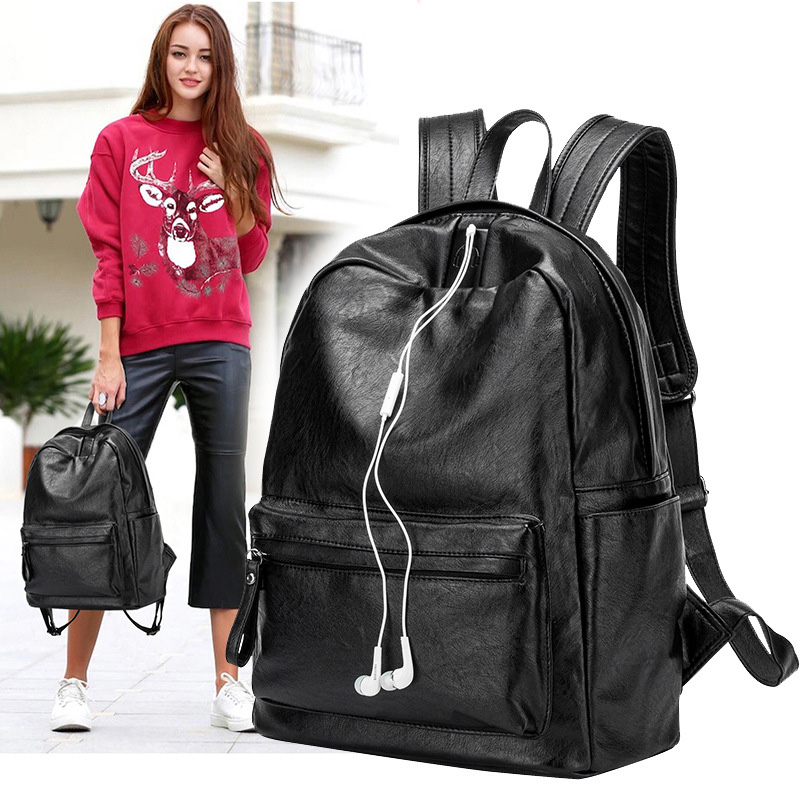 New Korean Women Female Rucksack Leisure Student School bag Soft Genuine leather Fashion Vintage Female Backpack new travel backpack feminine korean women fashion backpack leisure student schoolbag black soft pu leather women bag 14ba31 9 2
