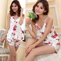 Women's Sexy Flower Sleepwear Braces Shirts + Shorts Underwear Pajamas Robes Set