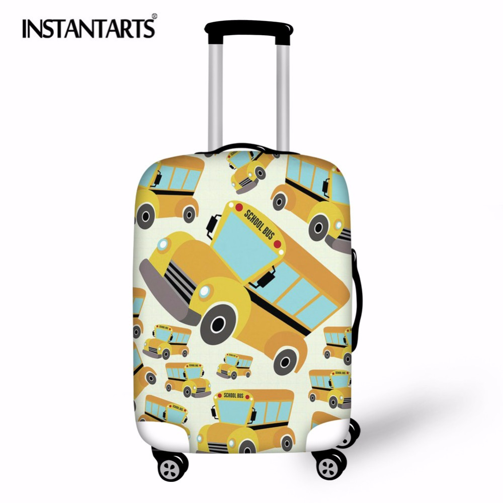 INSTANTARTS Travel Luggage Cover Dog Elastic Baby Suitcase Protective Cartoon School Bus Print Cover Case Travel Accessorie