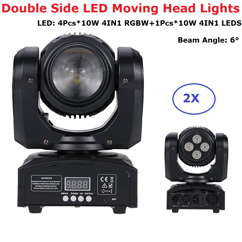 2Pcs/Lot Free Shipping Double Face LED Moving Head Lights Dj Bi-Sides Mobile Beam 10W RGBW LEDS + 4X10W RGBW 4IN1 LED Wash Light free shipping 2pcs lot led moving head light edison led 3w aluminum hose flexible star hotel retrofit chrome finish