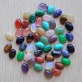 Wholesale 100pcs/lot 10X14mm Mixed Natural stone Oval CAB CABOCHON teardrop opal/rose quartz/Tiger eye stone beads Free shipping