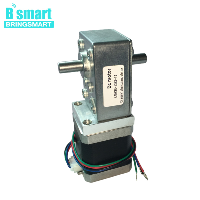 Bringsmart A58SW-42BYS DC Motor Worm Gear With Dual 24V 4-Wire micro engine Worm  Reduction Motor High Torque Self-LockingBringsmart A58SW-42BYS DC Motor Worm Gear With Dual 24V 4-Wire micro engine Worm  Reduction Motor High Torque Self-Locking