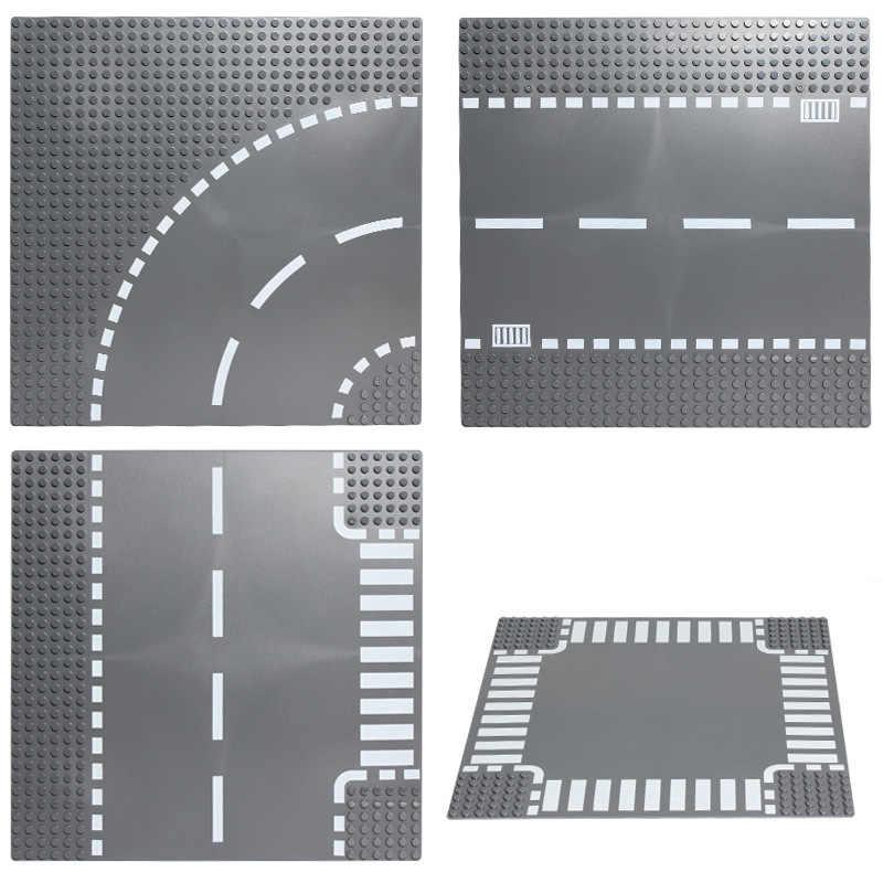 แผนที่แผ่นตรง Crossroad Curve ชิ้นส่วนอาคารอิฐฐาน Legoe City Blocks แผ่นฐานของเล่นสำหรับเด็กของขวัญ