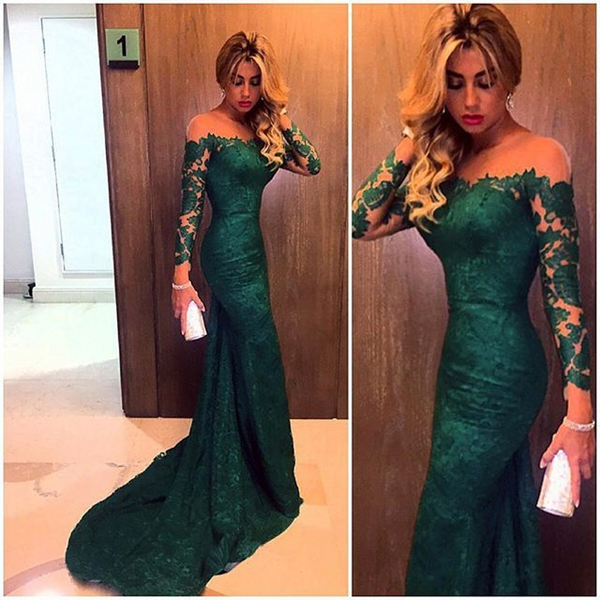 Fashion 2015 dark green mermaid lace evening dresses custom made vestido do festa long sleeves prom dress formal gown
