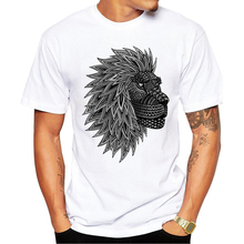 2017 Newest Fashion Printed Design lion Printed T Shirt Fashion Men's Hipster Fitness T-shirts Summer Brand Clothing Tops Tees